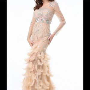 Bebe beaded feather gown